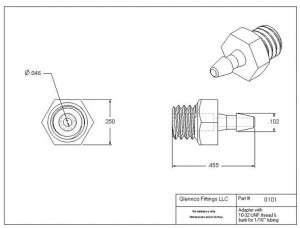 "010105 (Adapters - Thread: 10-32 UNF  Barb: 1/16""  Material: Polypropylene)"