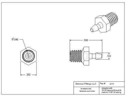 "011105 (Adapters - Thread: 10-32 Taper  Barb: 1/16""  Material: Polypropylene)"