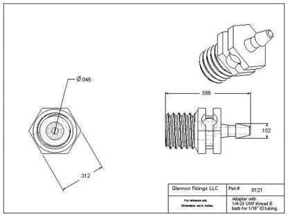 """012107 (Adapters - Thread: 1/4""""-28 UNF  Barb: 1/16""""  Material: Natural Nylon)"""