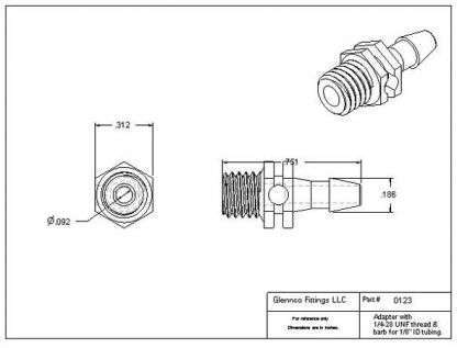 """012307 (Adapters - Thread: 1/4""""-28 UNF  Barb: 1/8""""  Material: Natural Nylon)"""