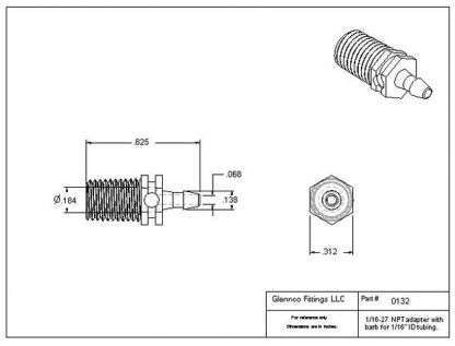 "013205 (Adapters - Thread: 1/16""-27 NPT  Barb: 3/32""  Material: Polypropylene)"