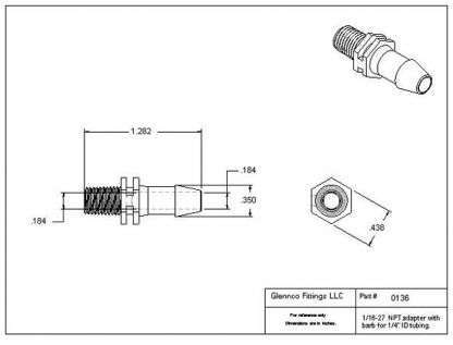 "013607 (Adapters - Thread: 1/16"" NPT  Barb: 1/4""  Material: Natural Nylon)"