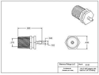 "014105 (Adapters - Thread: 1/8"" NPT  Barb: 1/16""  Material: Polypropylene)"