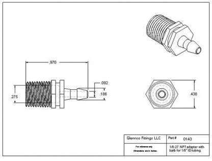 "014305 (Adapters - Thread: 1/8"" NPT  Barb: 1/8""  Material: Polypropylene)"