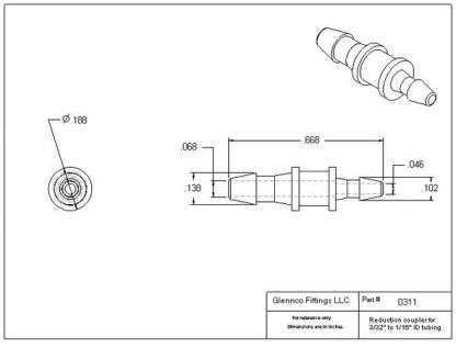 """031105 (Reduction Barb Couplers - Barb1: 3/32""""  Barb2: 1/16""""  Material: Polypropylene)"""