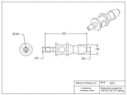 """031205 (Reduction Barb Couplers - Barb1: 1/8""""  Barb2: 1/16""""  Material: Polypropylene)"""