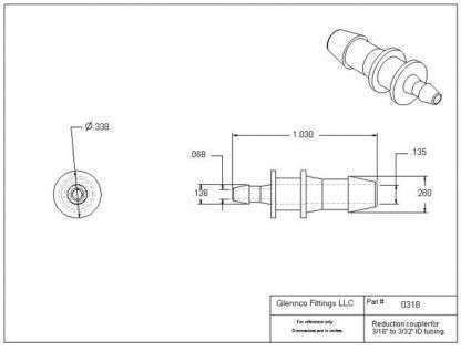 """031805 (Reduction Barb Couplers - Barb1: 3/16""""  Barb2: 3/32""""  Material: Polypropylene)"""