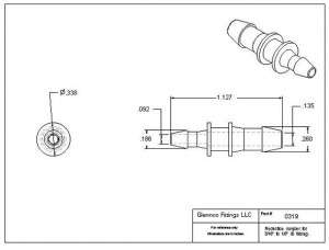 "031905 (Reduction Barb Couplers - Barb1: 3/16""  Barb2: 1/8""  Material: Polypropylene)"