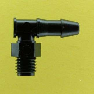 "123402 (Threaded Elbows - Thread: 1/4-28 UNF  Barb: 5/32""  Material: Black Nylon)"