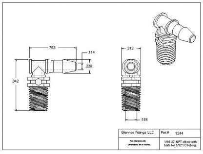 "124405 (Threaded Elbows - Thread: 1/16"" NPT  Barb: 5/32""  Material: Polypropylene)"