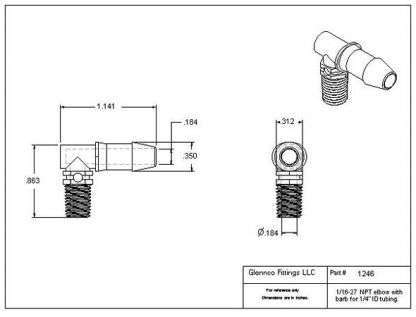 "124622 (Threaded Elbows - Thread: 1/16"" NPT  Barb: 1/4""  Material: Natural Kynar)"