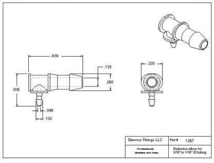 "126705 (Reduction Barb Elbows - Barb1: 3/16""  Barb2: 1/16""  Material: Polypropylene)"