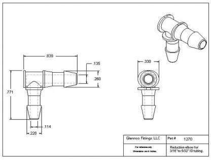 "127005 (Reduction Barb Elbows - Barb1: 3/16""  Barb2: 5/32""  Material: Polypropylene)"