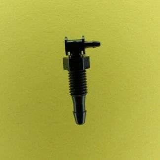 "1332102 (Reduction Barbed Bulkhead Elbows - Thread: 1/4-28 UNF  Barb1: 1/8""  Barb2: 1/16""  Material: Black Nylon)"