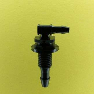 "1334302 (Reduction Barbed Bulkhead Elbows - Thread: 5/16-24 UNF  Barb1: 5/32""  Barb2: 1/8""  Material: Black Nylon)"