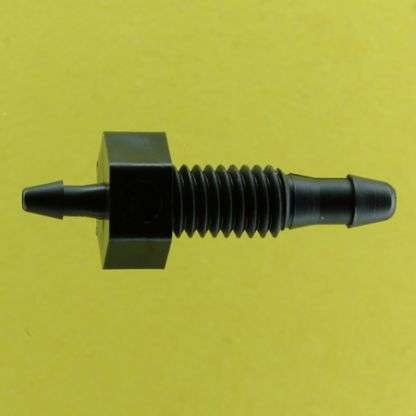 "136102 (Reduction Barbed Bulkheads - Thread: 10-32 UNF  Barb1: 3/32""  Barb2: 1/16""  Material: Black Nylon)"