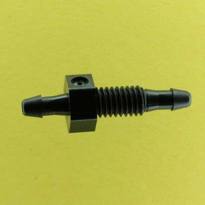 "136202 (Equal Barbed Bulkheads - Thread: 10-32 UNF  Barb1 & 2: 3/32""  Material: Black Nylon)"