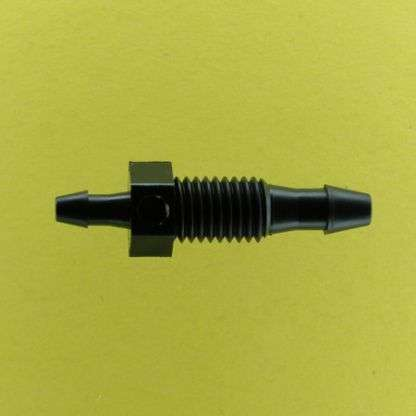 "137202 (Reduction Barbed Bulkheads - Thread: 1/4-28 UNF  Barb1: 1/8""  Barb2: 3/32""  Material: Black Nylon)"