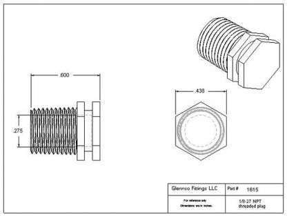 "161507 (Threaded Plugs - Thread: 1/8"" NPT  Material: Natural Nylon)"
