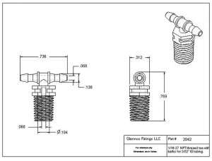 "204205 (Threaded Tees - Thread: 1/16"" NPT  Barb1 & 2: 3/32""  Material: Polypropylene)"
