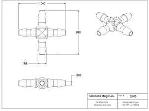 "240307 (Equal Leg Crosses - Barb1 & 2: 1/8""  Material: Natural Nylon)"
