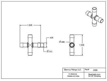 "240805 (Equal Leg Crosses - Barb1 & 2: 3/8""  Material: Polypropylene)"