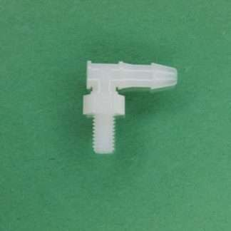 """1320422 (Panel Mounts Elbow - Thread: 10-32 UNF Barb: 5/32"""" Material: Natural Kynar)"""