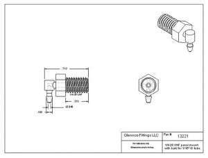"1322105 (Panel Mounts Elbow - Thread: 1/4-28 UNF Barb: 1/16"" Material: Polypropylene)"