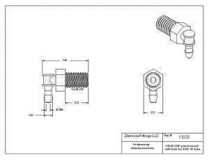 "1322222 (Panel Mounts Elbow - Thread: 1/4-28 UNF Barb: 3/32"" Material: Natural Kynar)"