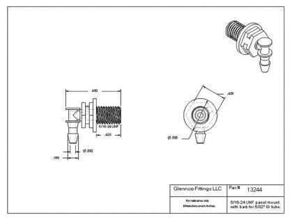 """1324407 (Panel Mounts Elbow - Thread: 5/16-24 UNF Barb: 5/32"""" Material: Natural Nylon)"""