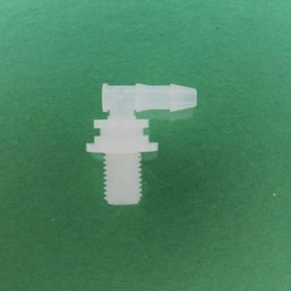 """1324422 (Panel Mounts Elbow - Thread: 5/16-24 UNF Barb: 5/32"""" Material: Natural Kynar)"""