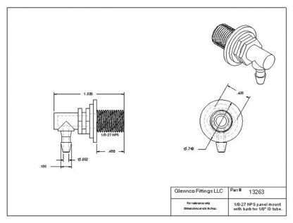 "1326305 (Panel Mounts Elbow - Thread: 1/8 NPS Barb: 1/8"" Material: Polypropylene)"